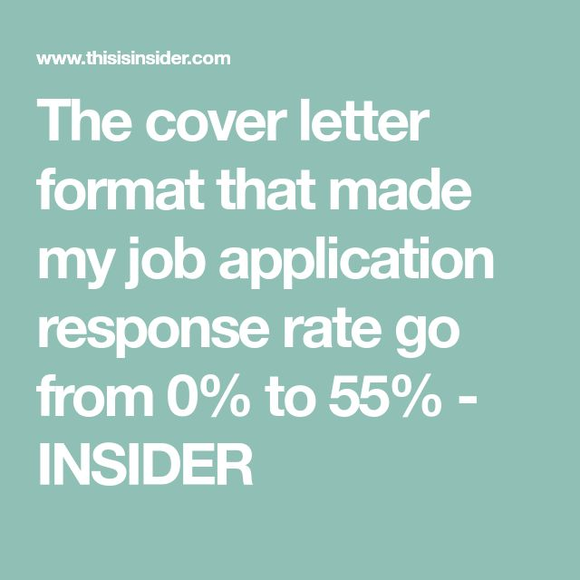 The cover letter format that made my job application response rate go from 0% to 55% - INSIDER