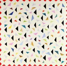 Laura Zeni, Omaggio a D Casa, serie Geometrie ri-viste, 2016, acrilico e collage su tela, cm 100x100