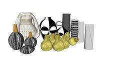 3D Model of accessories interior, vase, decoration, picture frame