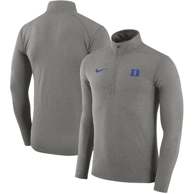 Duke Blue Devils Nike Element Performance Half-Zip Pullover Jacket - Heathered Gray