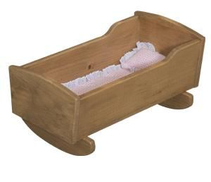 American Made Wooden Doll Cradle A handmade wooden doll bed is a must have for every little girl.