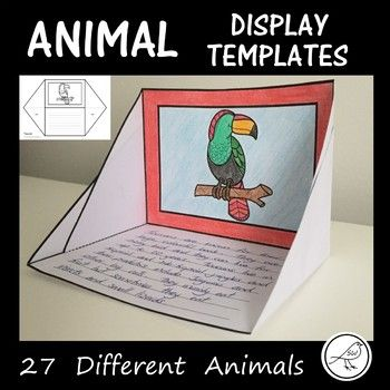 Display Templates - 27 different zoo animals. Suitable for displaying animal facts, poem, etc. Great for presenting independent research. Easy to assemble (cut, fold and glue). Instructions included. Two Options: ♦ Templates with 9 lines for