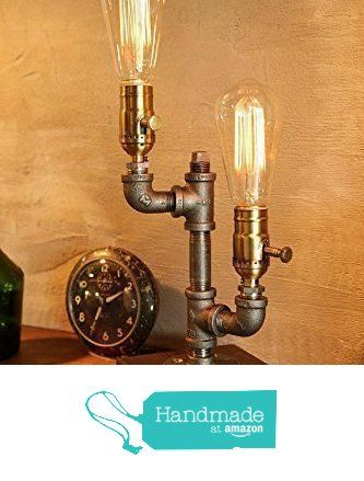 Dimming industrial steampunk table pipe lamp with classic edison bulb and weathered wood base from urban