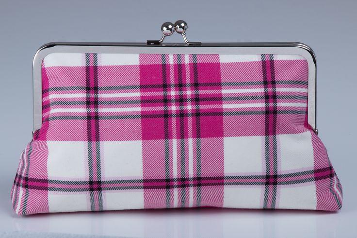 Exclusive designer tartan clutch bag made in the Raspberry Scott Dress tartan. 100% Pure New Wool, made in Scotland, size 10″ x 8″