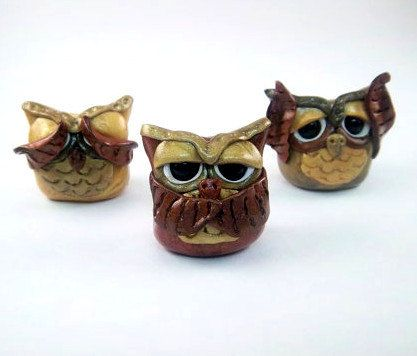 17 best images about fimo owls on pinterest polymers owl and polymer clay ring - Hear no evil owls ceramic ...