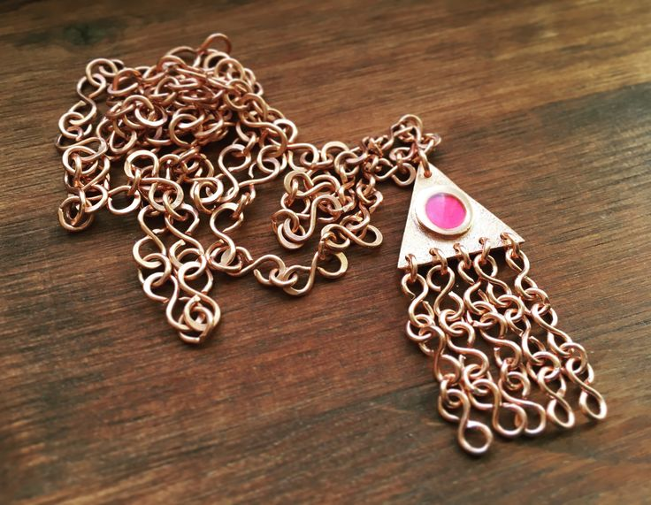 SOLD! I used copper clay to make the charm, which was fired in my jewelry kiln. The pink motive is hand drawn by me on paper with a marker, and coated with a special kind of glue that protects and preserves the colors of the motive. Eventually i cover the motive with resin to finish my charm!  The chain and hook-and-eye clasp is also handmade from scratch with some of my jewelry tools and pure copper wire.  Necklace chain: 71 cm Charm: 2,2 cm x 2,3 cm