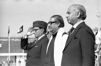 Sheikh Mujibur Rahman and Zulfikar Ali Bhutto. Bhutto had served as the President of Pakistan, immediately following the end of Bangladesh's Liberation War, from 1971-1973; this is despite the fact that Bhutto (being the kind of politician that he was) had expressed that he was very disappointed Bangladesh couldn't be together with Pakistan.