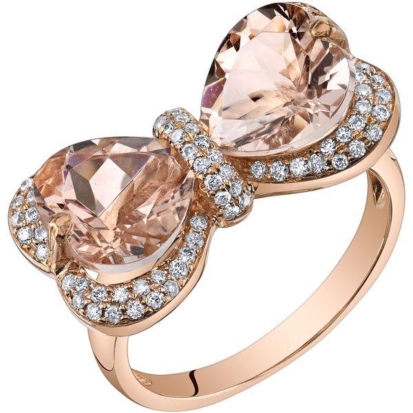 Oravo 14k Rose Gold 4 1/4ct TGW Heart-shape Morganite and 3/8ct TDW Diamond Ring (H-I, SI1-SI2)