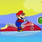 Mario está divirtiéndose al máximo en la playa con las carreras de motos de agua. Pasa las rampas sin caer y tienes que recoger las monedas..