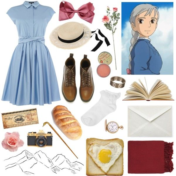Sophie // Howls Moving Castle // Studio Ghibli by showme-thestars on Polyvore featuring mode, Tara Jarmon, Oasis, Dr. Martens, Elgin, Cartier, Maison Michel, Rosebud Perfume Co., Dot & Bo and Linea