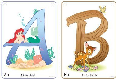 Free Disney Character Alphabet Cards---- I printed, laminated, and will hole-punch and put on a ring.