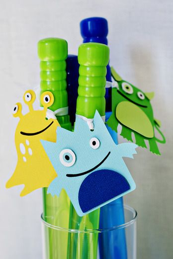Bubble wand for Monster party - Nice easy favor!! And they are $1 at Target!!