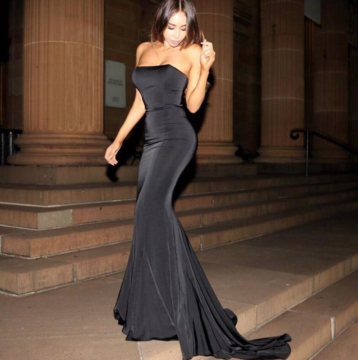 The Cavalli long black mermaid evening gown with fishtail train Evening Gown / Formal Dress / Prom Dress / Maxi Dresses / Unique Dress / pageant dress / mermaid dress