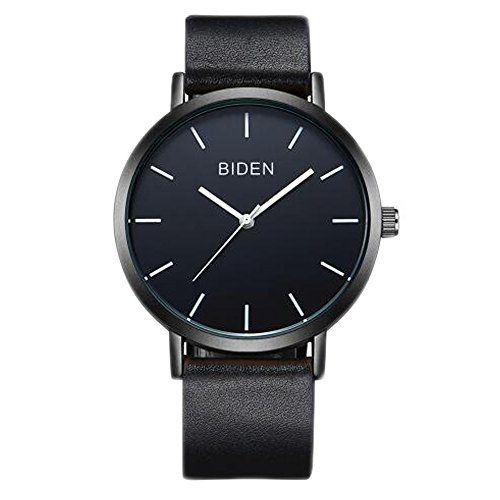 ALPS Mens Womens Unisex Waterproof Simple Casual Analog Quartz Black Leather Band Dress Wrist Watch