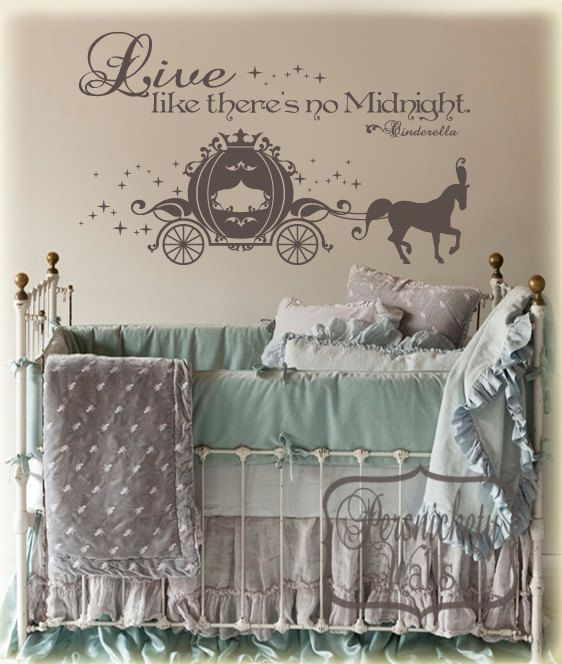 Cinderella Carriage vinyl wall art sticker with Live like there's no Midnight vinyl wall quote -Choose your own Color. $32.00, via Etsy.
