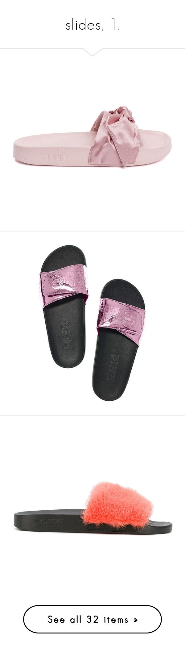 """""""slides, 1."""" by originalimanim ❤ liked on Polyvore featuring shoes, pink, pink shoes, puma footwear, puma shoes, bow shoes, pink bow shoes, victoria's secret, metallic shoes and berry shoes"""