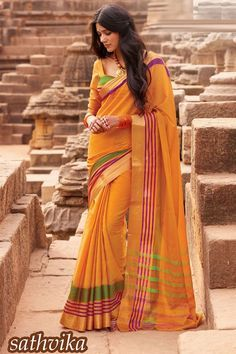 Online Shopping of Orange Cotton Printed Party Wear Saree-Sathvika from SareesBazaar, leading online ethnic clothing store offering latest collection of sarees, salwar suits, lehengas & kurtis
