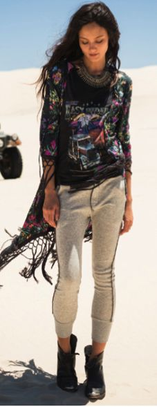 SPELL AND THE GYPSY COLLECTIVE GYPSY QUEEN TASSEL KIMONO BLACK FLORAL $257- CALL SPLASH TO ORDER 314-721-6442