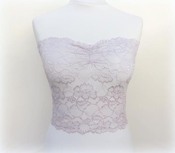 9dc68a846980b Light purple floral lace strapless. Purple bandeau top bra. Light purple  lace lingerie. Purple tube top. Bridal lingerie.