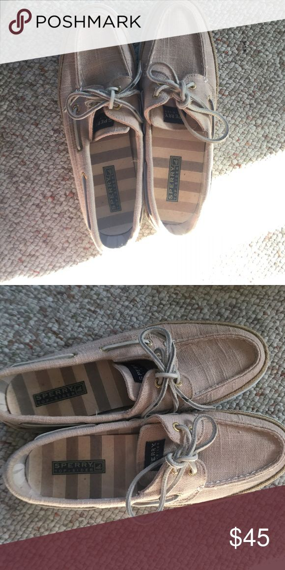 Sperry TopSider boat shoes Gently used canvas sperrys! Light tan color. Perfect for summer😍 Sperry Shoes
