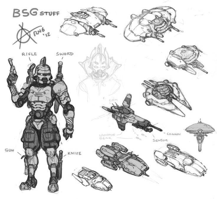 Spaceships and Cylon redesign / concept art