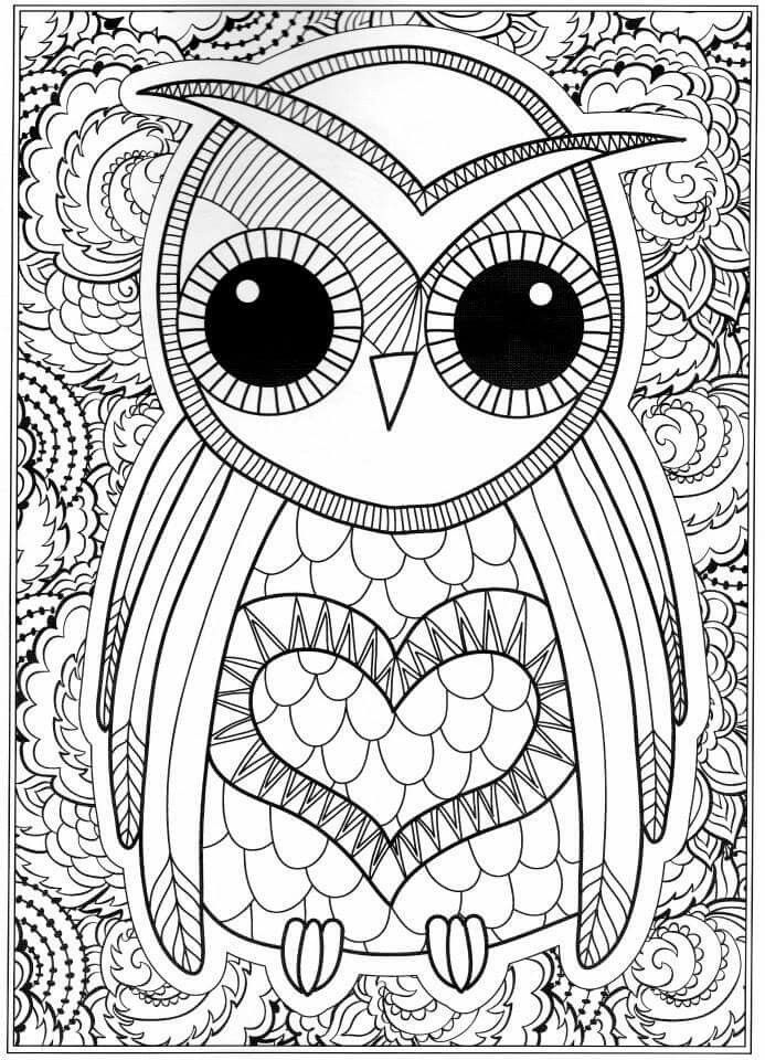 Print Free Owl Coloring Pages For Adults Owl Coloring Pages, Detailed Coloring  Pages, Abstract Coloring Pages