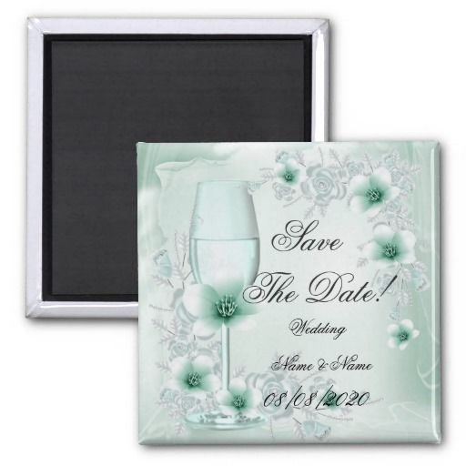 Save The Date Wedding Mint Green Floral Blossoms Refrigerator Magnets