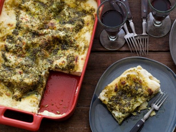 For this meatless main dish, replace the standard marinara with a creamy, buttery béchamel sauce, and add basil and pine nut pesto for a bright and lively twist.