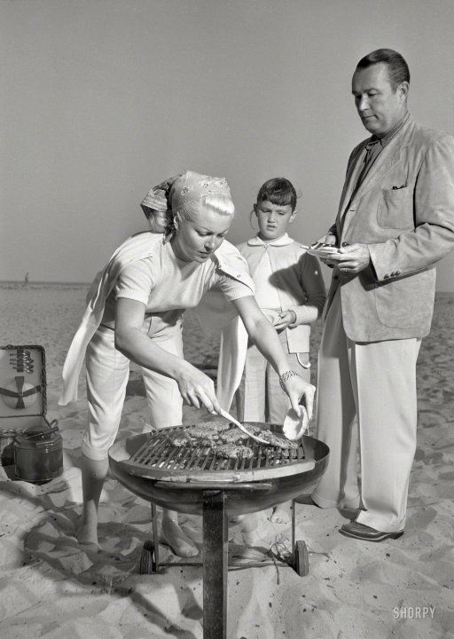 Lana Turner with daughter Cheryl Crane & Henry Topping barbecue