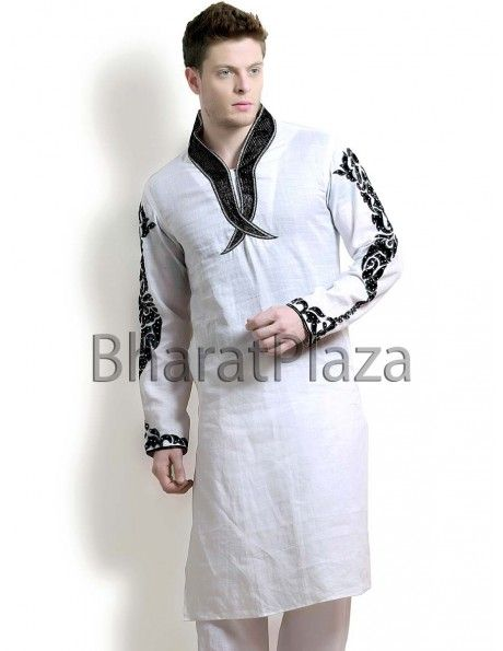 Ornate Off White Kurta Pyjama. Item code: KMD1-3