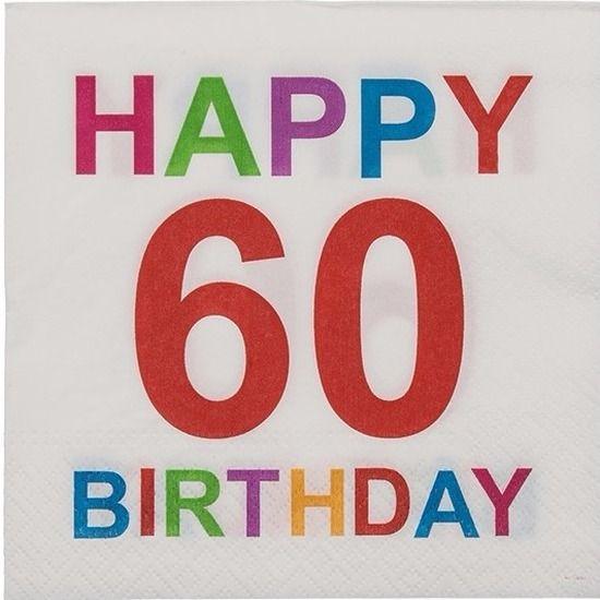 Pakje met 20 witte papieren servetten met opdruk: Happy 60 Birthday. De 3-laags servetten zijn gemaakt van 100% FSC gecertificeerd papier. Formaat uitgevouwen servet: 33 x 33 cm.