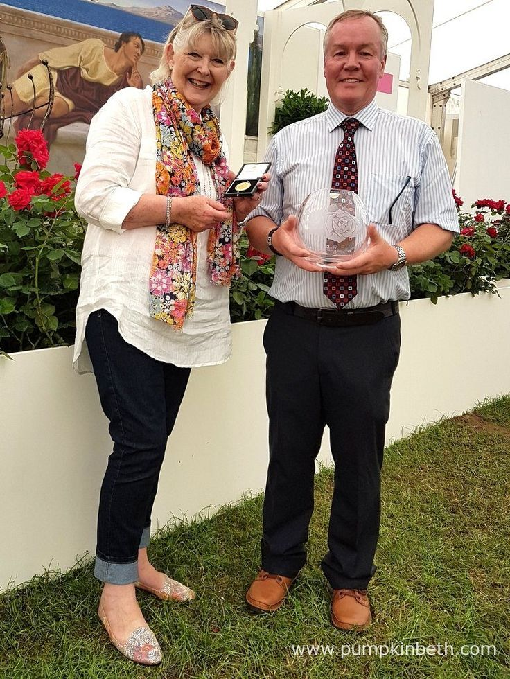 Colin Dickson of Dickson Roses, receives a Gold Medal from the Royal National Rose Society, this prestigious award was presented by Anna McGowan from the National Rose Society. Anna McGowan and Colin Dickson are pictured inside The Festival of Roses Marquee, at the RHS Hampton Court Palace Flower Show 2017.