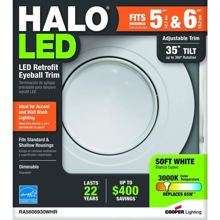 Halo 5 in. and 6 in. 3000K Matte White Recessed LED Adjustable Gimbal Module 90 CRI-RA5606930WHR - The Home Depot