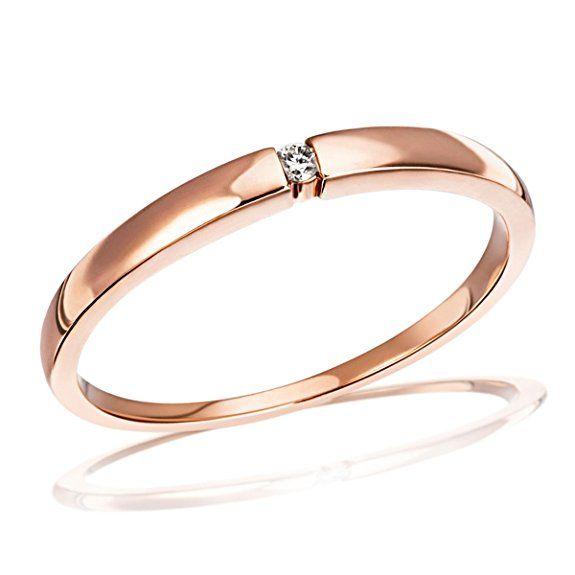 Goldmaid Damen-Ring 8 Karat 333 Rotgold Solitär Spannfassung 1 Brillant 0,03 ct. Gr. 54 (17.2) So R4696RG54