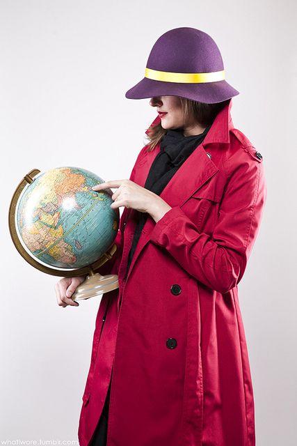 * Easy Homemade Costume ~ Carmen San Diego! Hat, Overcoat and World Globe!