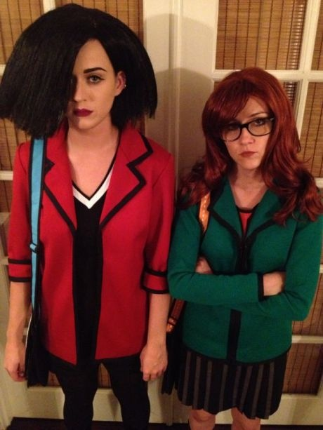 Katy Perry and Shannon Woodward dressed up as Jane Lane and Daria Morgendorffer. #HalloweenCostume