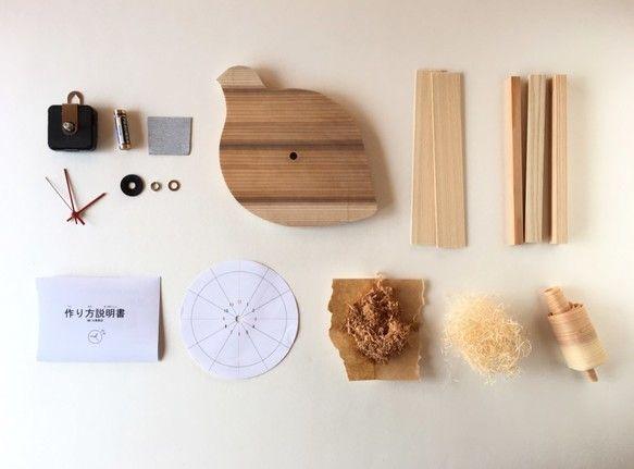 手作り時計キット 雷鳥型 県産杉の文字盤と5種の木材入り 時計 手作り 時計 キット かわいい時計