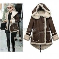 Imagine wrapping yourself in this a wet and cold fall day... mmmmm....Winter Womens Padded Wool Double Breasted Thick Long Hooded Coat jacket