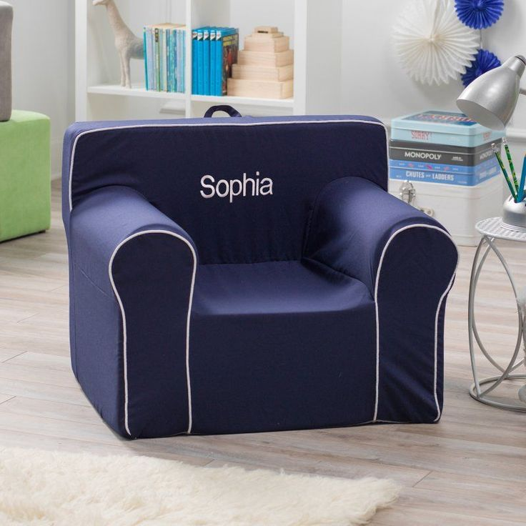 Here and There Personalized Kids Chair - Navy Canvas White White - 61388P-1