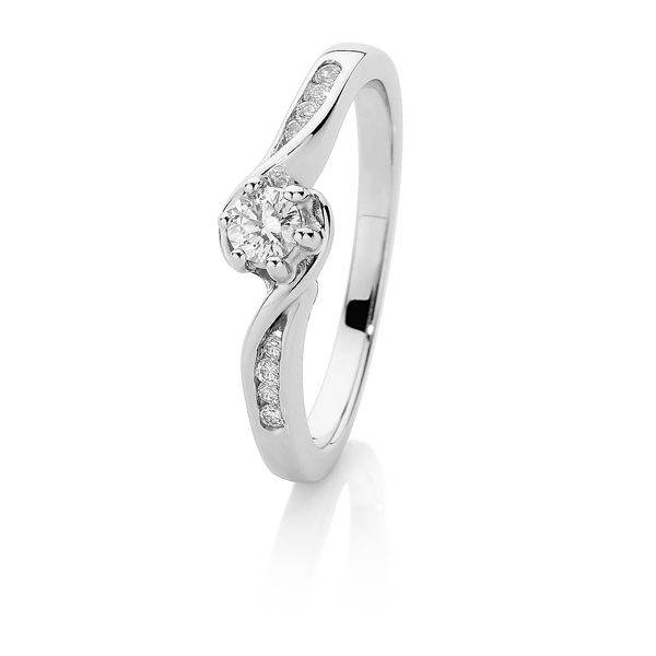 White Gold Diamond Ring with 0.23ct