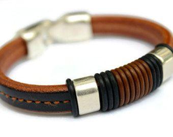 Mens Leather Bracelet, Mens Birthday Gift, Graduation Present for Boyfriend, Husband, Son, Brother, Best Man, Leather Anniversary Gift
