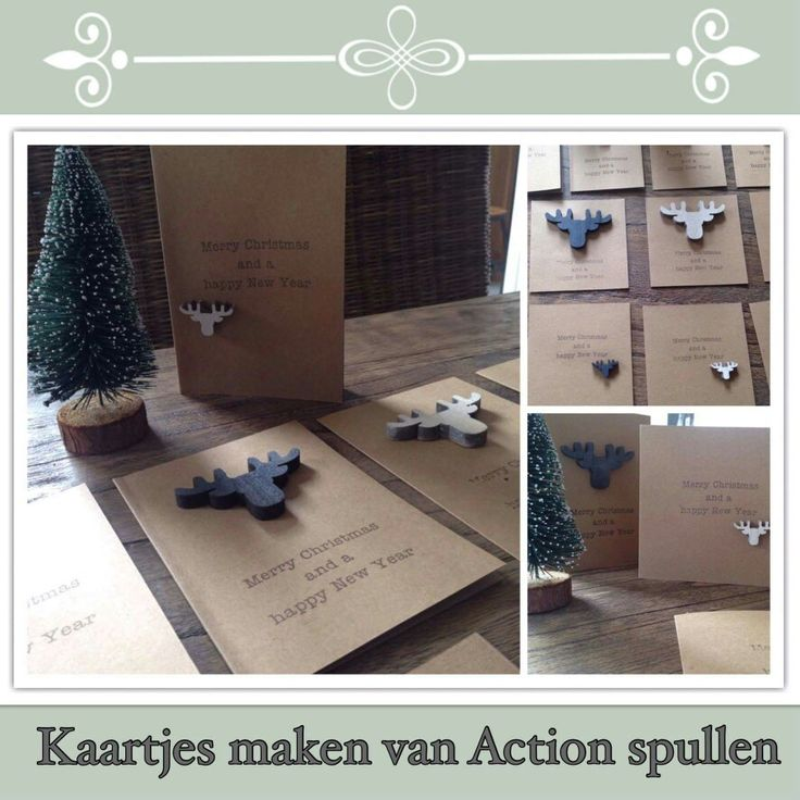 Kerstkaarten maken met spullen van de Action