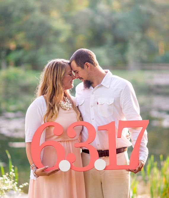 Save The Date Sign for Engagement Photography Prop  Large