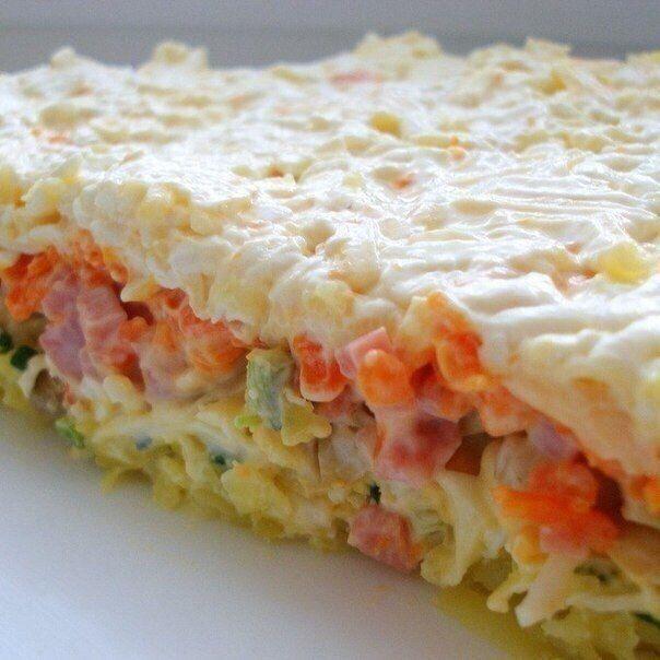 Очень вкусный слоеный салатик  1-й слой: отварная картошка, натертая на крупной терке 2-й слой: зеленый лук 3-й слой отварные яйца, натертые на терке 4-й слой: маринованные шампиньоны 5-й слой: нарезанная кубиками ветчина 6-й слой: вареная морковь, натертая на терке 7-й слой: плавленный сыр и немного Голландского Все слои немного смазывать майонезом. Овощи подсолить. Приятного аппетита! / Speleologov.Net - мир кейвинга