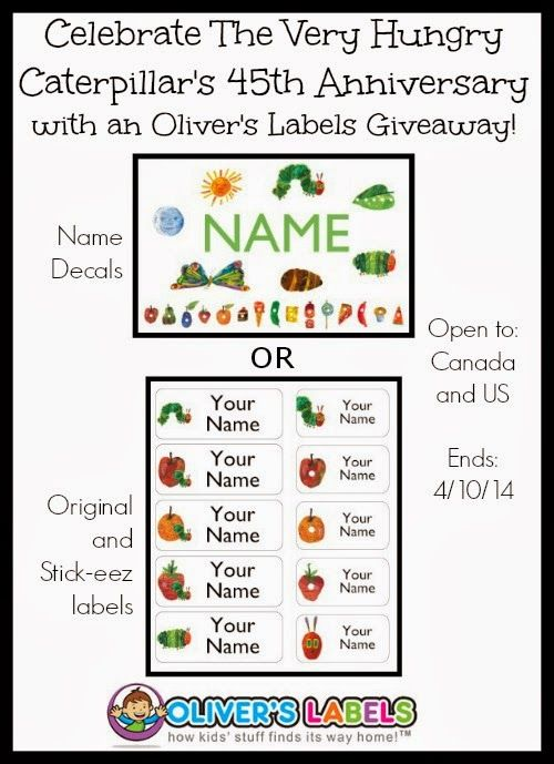Celebrate The Very Hungry Caterpillar's 45th Anniversary with an Oliver's Labels Giveaway! CAN/US ~ 4/10/14 #Mom4Two