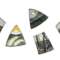 Barbara Ryman, Fragment Pendants, Vitreous Enamel on copper, Gold Foil, Sterling Silver setting - $580 each with Sterling silver chain