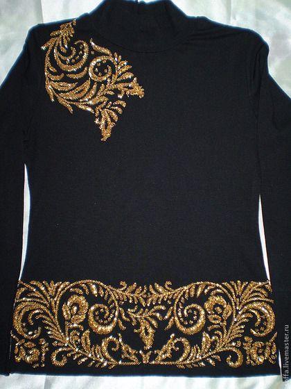 """Sudaderas y jerseys hechos a mano. Masters Feria - hecho a mano. Comprar cuello alto que hace punto """"Khokhloma"""" (bordado con cuentas y abalorios). Hecho a mano."""