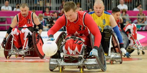Photo of a rugby player in a wheelchair