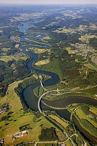 Bigge Reservoir, Biggetal Dam, and expressway in Kreis Olpe district, Sauerland, North Rhine-Westphalia, Germany - Europe - photo by Robert Harding