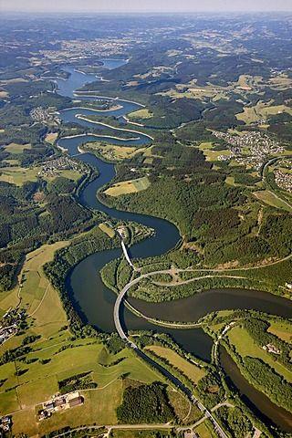 Bigge Reservoir, Biggetal Dam, and expressway in Kreis Olpe district, Sauerland, North Rhine-Westphalia, Germany - photo by Robert Harding